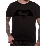 Batman vs Superman Black on Black T-Shirt, Medium