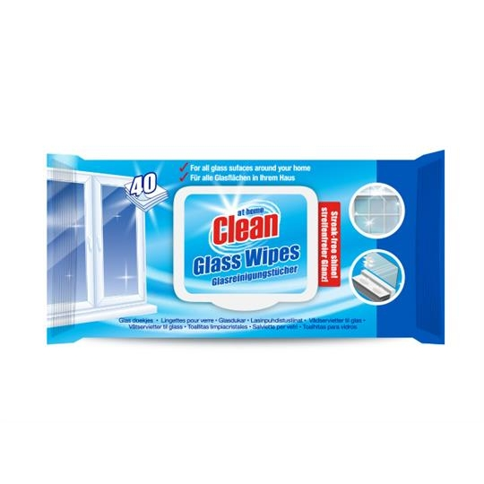 At Home Clean Glass Wipes 40-pack